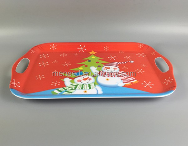 Snowflakes and twin snowman scarf design handled melamine trays, home items Christmas decoration tray plastic