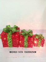 Party Christmas decoration - glitter gift box S/3
