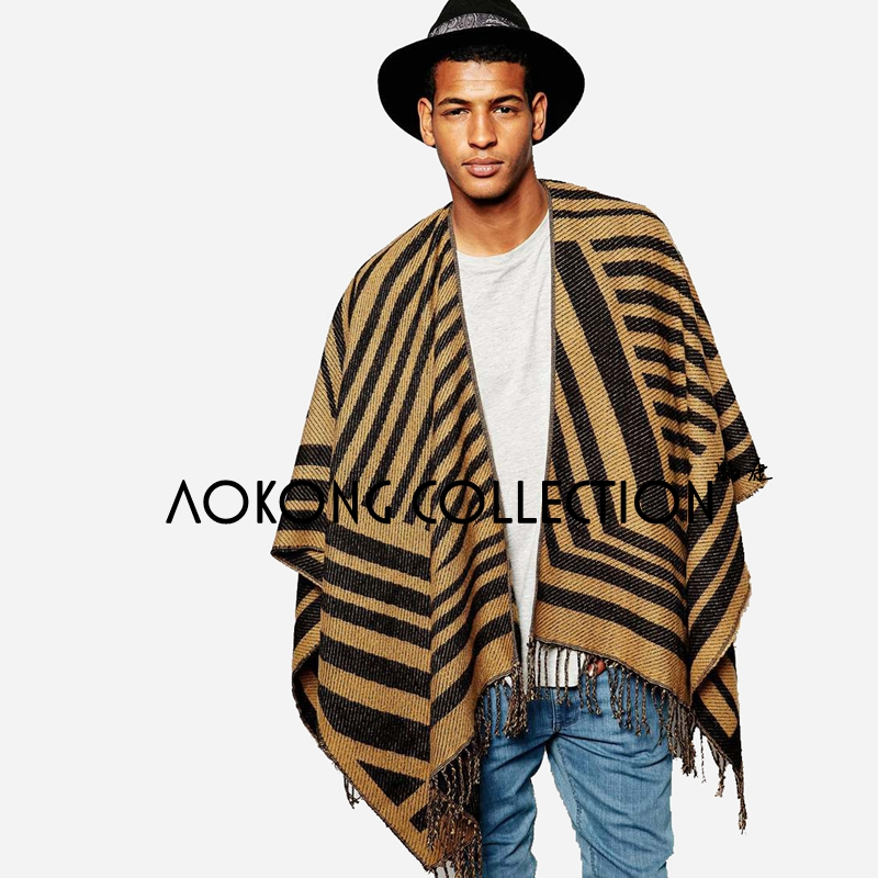 Fashion tan color tassel striped warm women and mens poncho