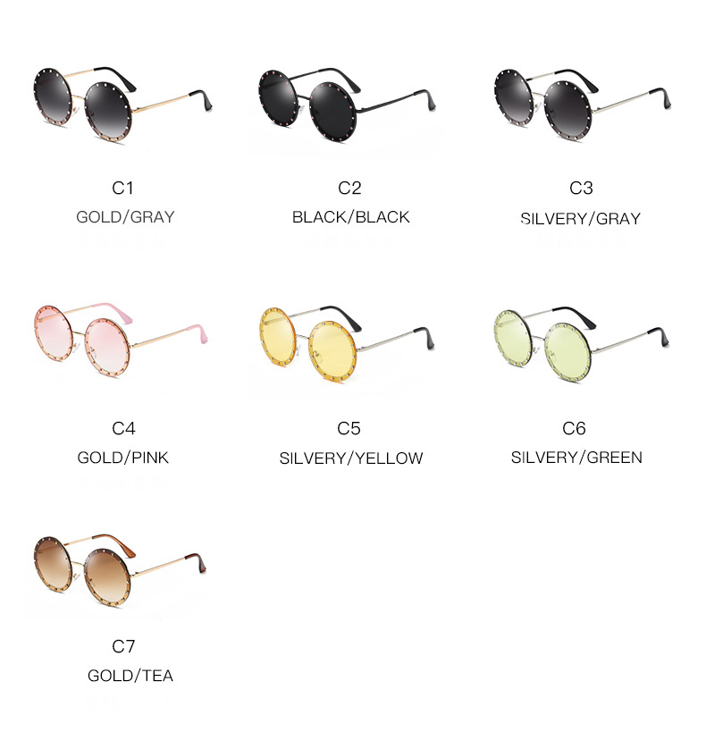 New Luxury Design Women Sunglasses Candy Color Metal Round Diamond Sunglasses