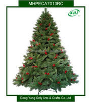 BSCI Mixed Needle Pine and PVC Artificial Christmas Tree w/ Red Berries and Pinecones