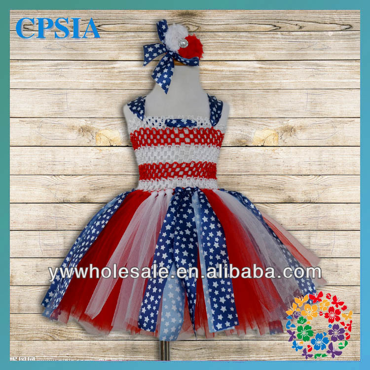 2014 July 4th Patriotic Design Girls 2 Layers Dress With Match Headband Red White Blue Stars And Glitter Blue Tulle Dress