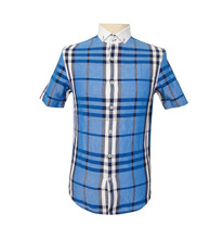 Polyester / Cotton casual dress style button up collar man check shirt