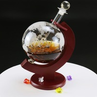 Decoration etched globe decanter Unique globe decanter with ship hot selling