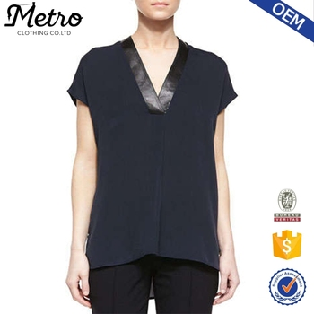 Wholesale Elegant Cap Sleeve Hi-low Leather Trim V-neck Chiffon Blouse