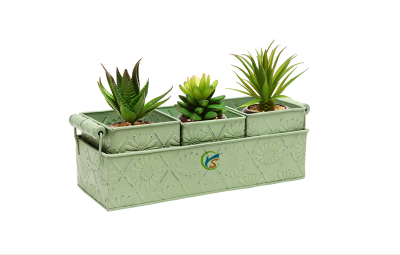 2016 hot Wholesale Clay set of 3 metal window planter