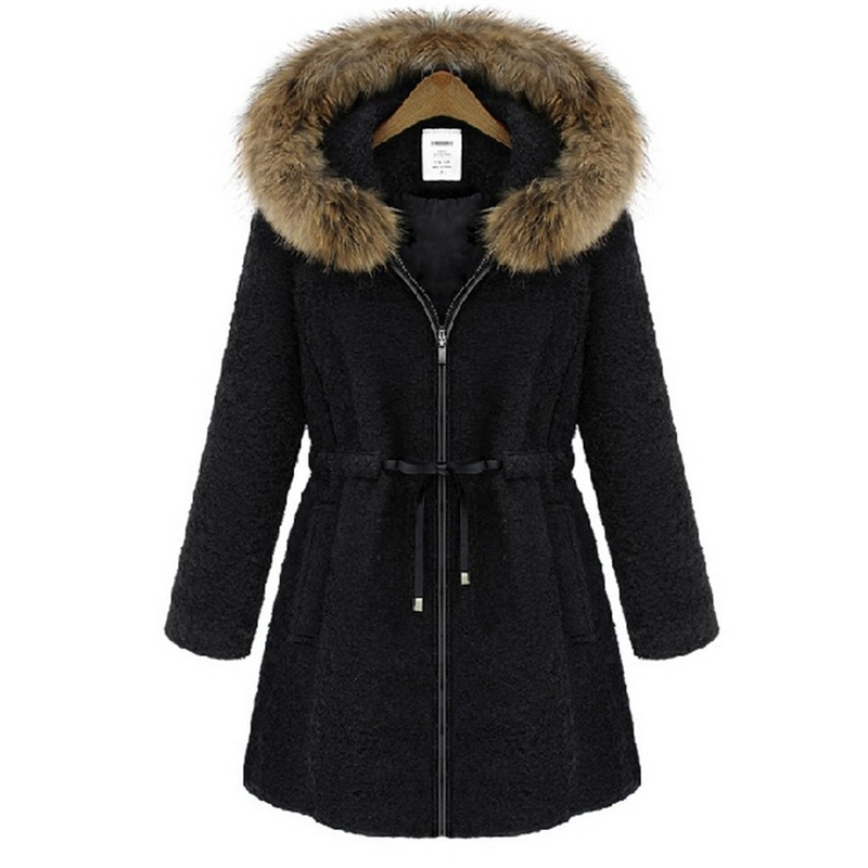 5XL Plus Size 2015 New Winter Women Thick Warm Fur Hooded Coat Female Cotton Women's Jackets Abrigos Y Chaquetas Coats MWT3