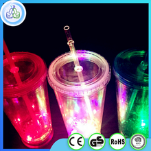 China 16oz plastic double wall led cup,double wall cup