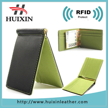 China synthetic designer leather money clip , rfid blocking money clip for leather