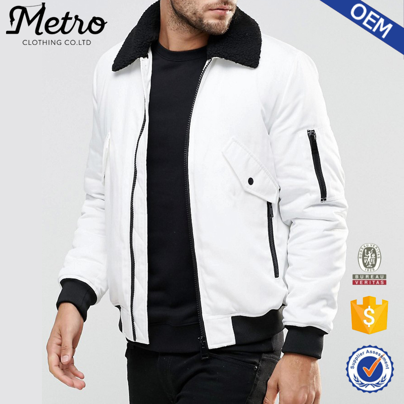 2017 Custom New Casual Style Men's White Blank Winter Bomber Jacket