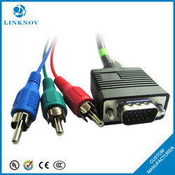 China factory supply 1 in 3 vga to rca cable converter for RGB hd video transmission