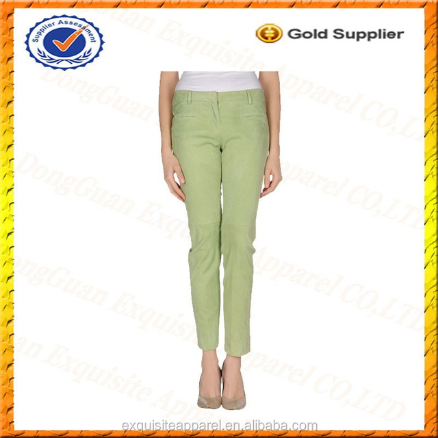 Custom 100% Soft Leather Kinds of Suede Pants for Women/Green Pants Woman Clothes 2016