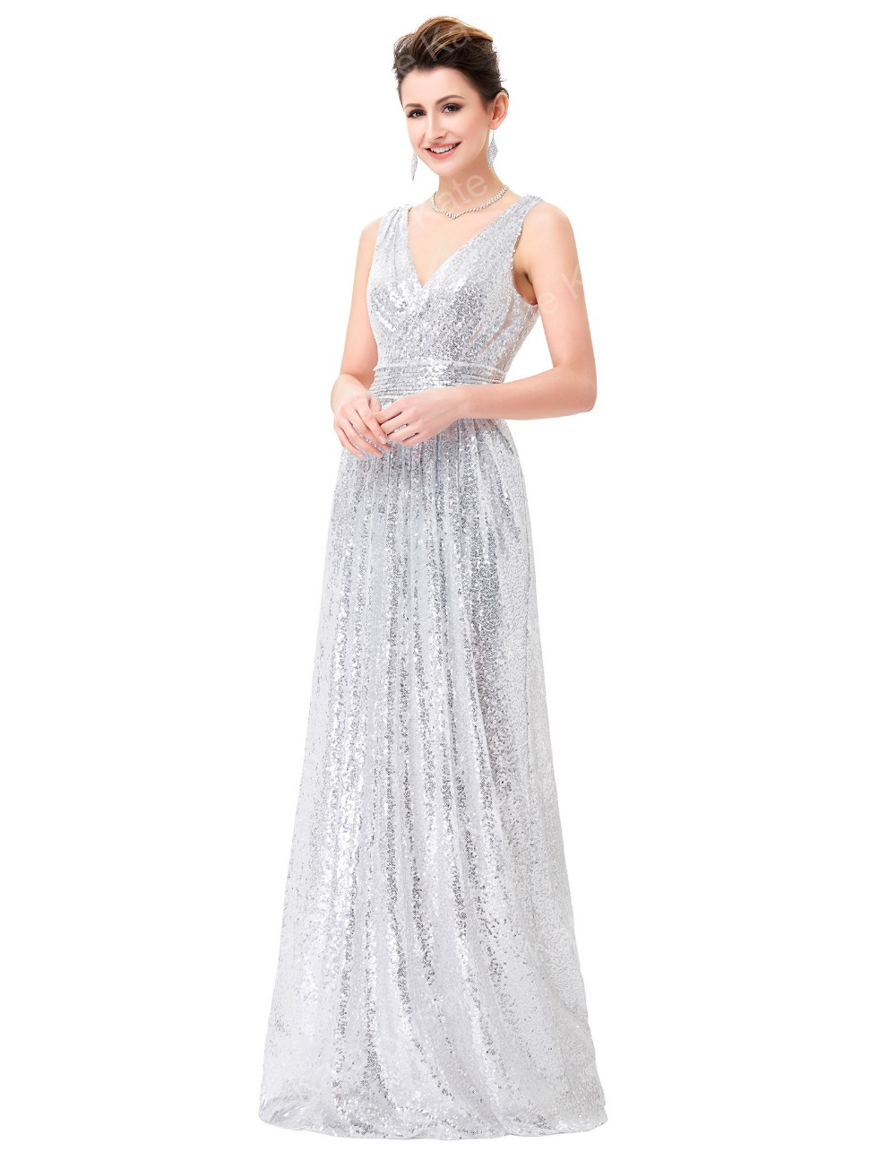 Kate Kasin Sexy Sleeveless V-Neck Silver Shining Sequined Long Prom Party Dress KK000199-3