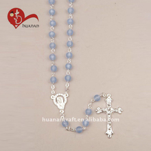 Handcraft sterling silver tin cut crystal religious 6mm blue glass beads christianity rosary cross necklace
