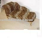 Antique Leopard animal print chaise lounge