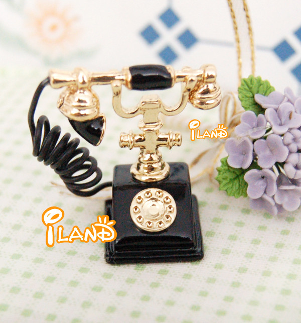 Doll house Miniature Telephone in Black colour for dollhouse decoration old-fashioned HC004C