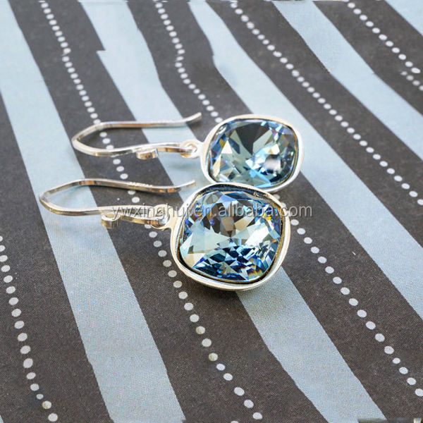 Design your own blue stone silver earrings