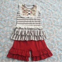 Summer Shorts Outfit Remake Girl Boutique Outfit Ruffle Printed Gray Girl clothes Pink stripe Bib Organic Cotton red capris