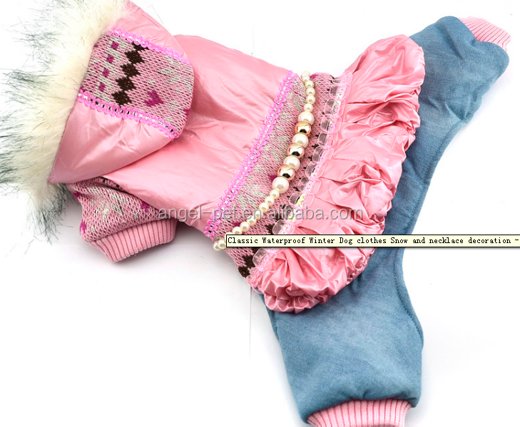 Classic Waterproof Winter Dog clothes Snow and necklace decoration - Pink