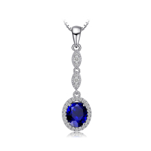 JewelryPalace Fashion 2.7ct Oval Blue Created Sapphire Pendant 925 Sterling Silver