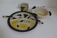 cow with ears shaped baby dishes made of bamboo fibre eco friendly home ware, kids dishes dinner set