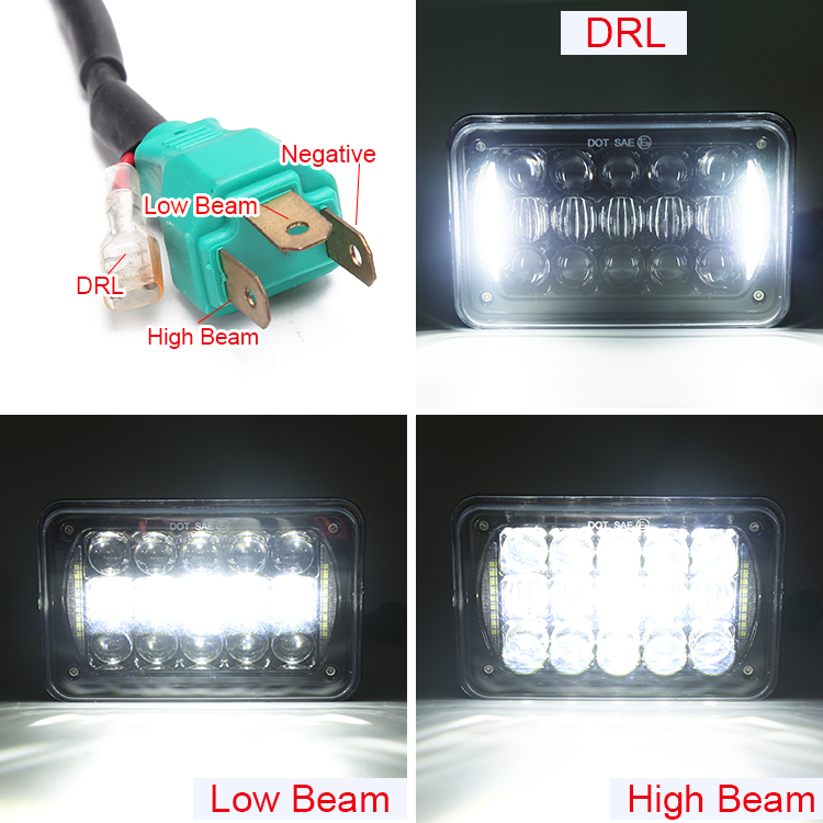 "New 48W Rectangular 5D 5"" 4x6"" led headlight with DRL off road SUV trailers truck 4x6 led lamp"