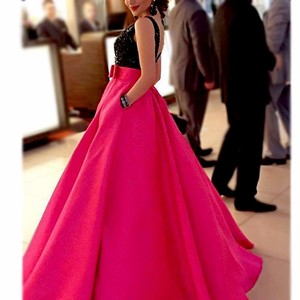 New Collection Prom Dresses Black Beading Top Rose Red Satin Fabric Party Wear Evening Dresses