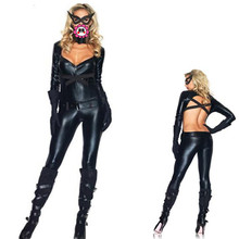 Abbille new arrival black playsuits leather jumpsuits catsuits with mask
