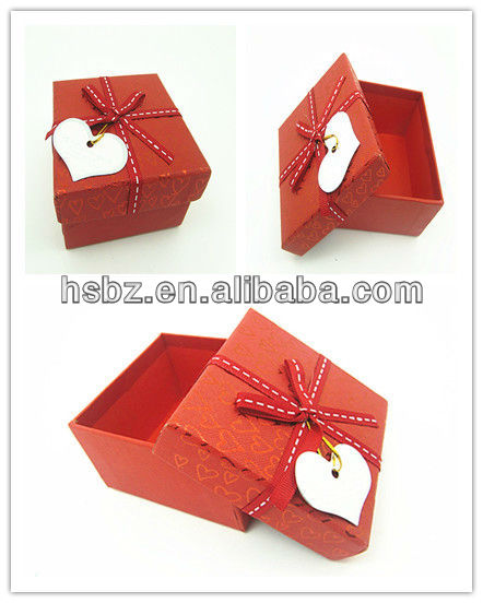 2013 hot sale small red wedding favor box with ribbon for gift