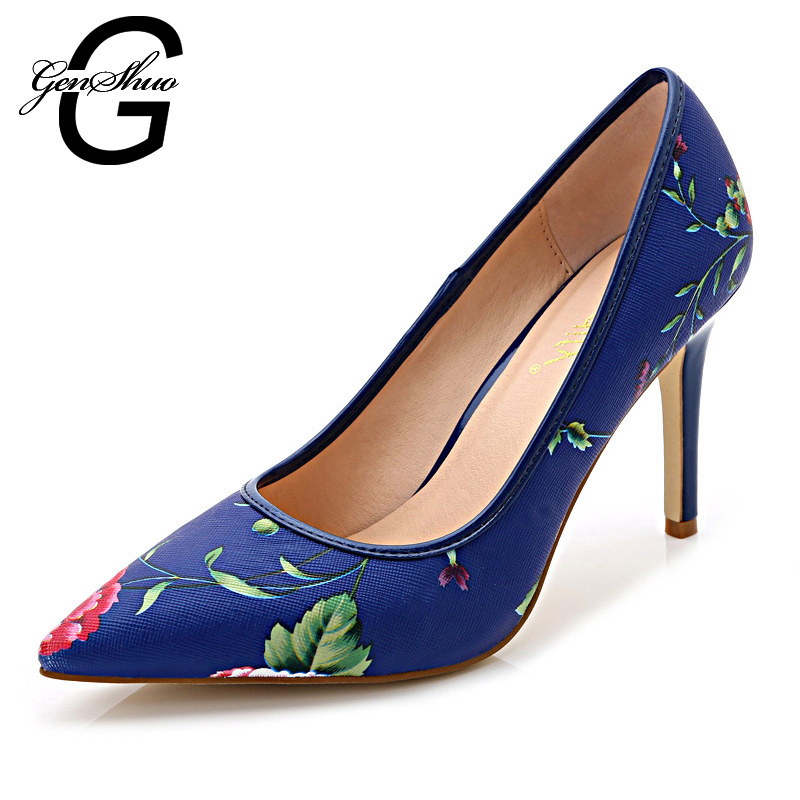 New Vintage Sexy Floral Print Pointed Toe High Heels Women Shoes 2016 Brand New Design Platform Pumps