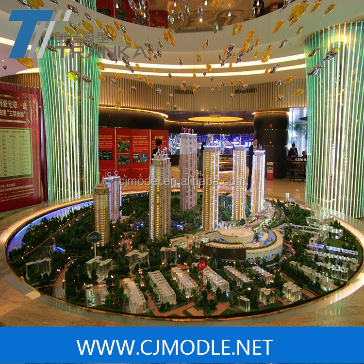 Miniature 3D architectural scale model with high quality LED light for commercial building