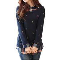 Spring and autumn lovely printed fake 2pcs long sleeve blouse designs fashion women plaid shirt