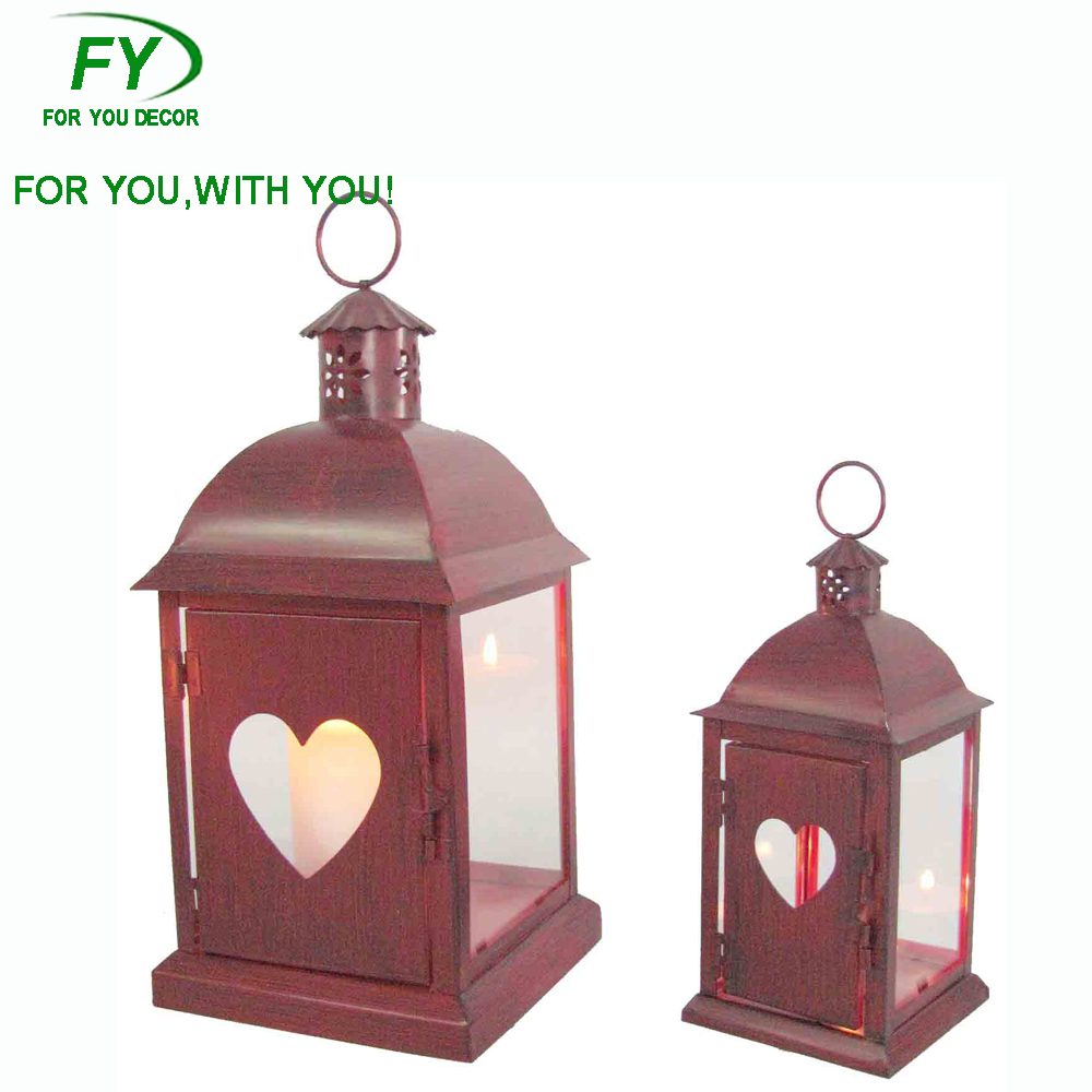ML-028 set of 2 Quality first wedding decorative metal lantern with heart design