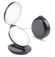 Adjustable double sided 10X magnifying lighted makeup mirror for travelling makeup