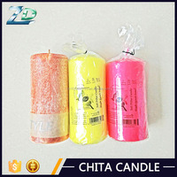 Wedding Decorative aroma Color fluted pillar candle wholesale
