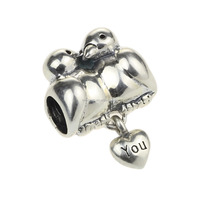Fashion Jewelry Making Wholesale Love You Bird 925 Sterling Silver Charm for European Bracelet