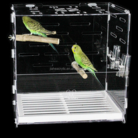 Customized decorative pet cage unique square clear acrylic bird cage for sale