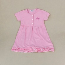 Pink stripes knit cotton ruffle bottom baby girls summer dresses