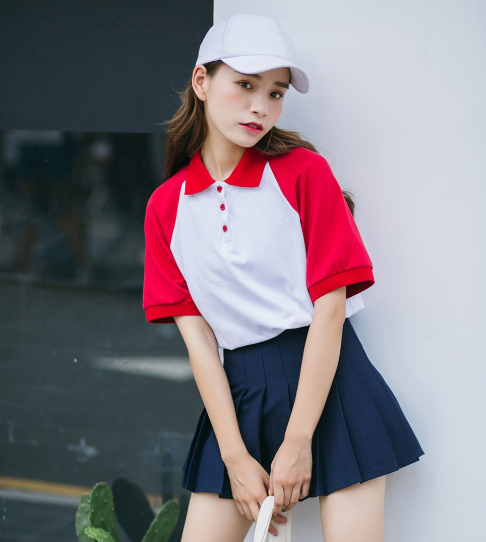 New arrival oversized multi tone short ragaln sleeve longline camisa polo t-shirt for women