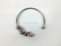 2015 New Pink Ribbon Breast Cancer Awareness Sterling Silver Cuff Bracelet Pandora Style Bracelet With Live Love Laugh Charm