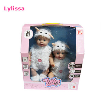 Plastic Twins Girl Soft Toy Fashion Design Baby Doll with Cloth Wholesale