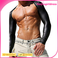 Wholesale Men's Faux Leather Fitness Jackets Arm Shrug Cloth Motorcycle Dance Costume Underwear