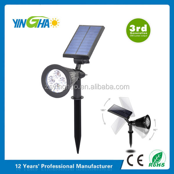New Version 2 Modes 200 Lumens Solar Wall Lights / In-ground Lights, 180 angle Adjustable 4 LED Solar Outdoor spot Light