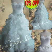 Hot Sale Factory Custom Made Long Good Quality Organza Beaded Sweetheart Full Skirt Ball Gown Wedding Dresses