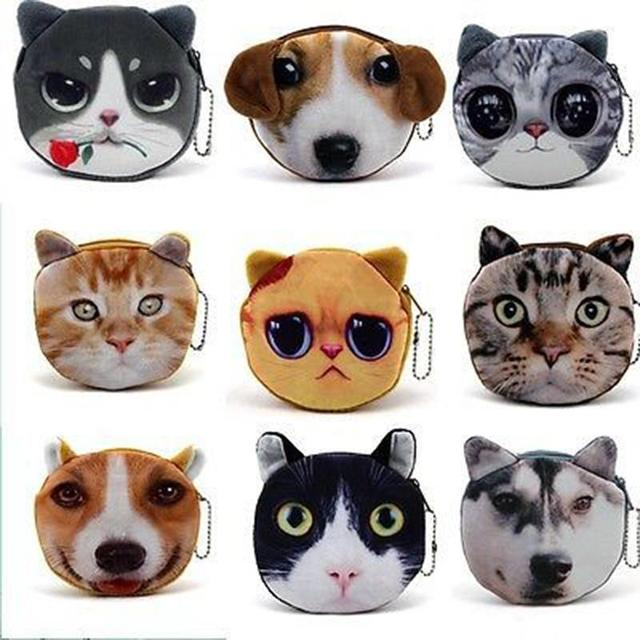 Gorgeous Flawless Cat/dog Face Zipper Case Coin Purse Wallet Makeup Bag 2015 most fashion