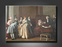 group gathering oil paintings