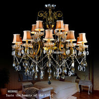 MEEROSEE Big crystal chandelier lighting fixture antique brass color Large hanging Light Fitting Bronze color for Foyer MD8504