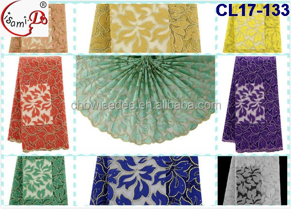 Fashion beads and stones designs CL17-133(3) coral french lace fabric/net lace/tulle lace fabric for wedding dresses