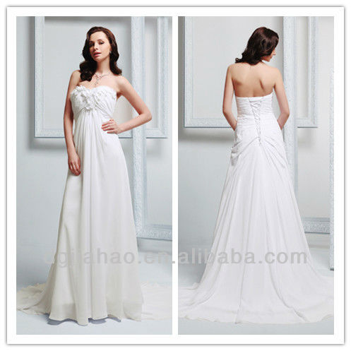 Empire Sweep Train Ruched White 2013 Wedding Dresses