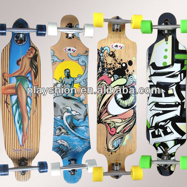 "New Wholesale 36"" 40"" 41"" maple longboard deck nice bamoo skateboard decks"